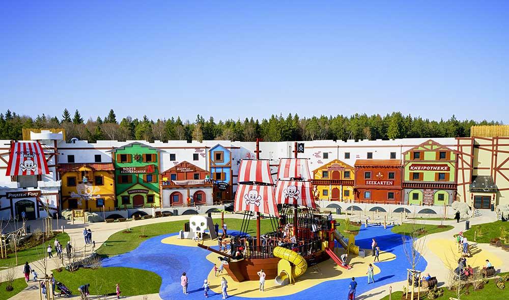 Lappset Creative create legoland pirate ship playground, onsite theme park hotels