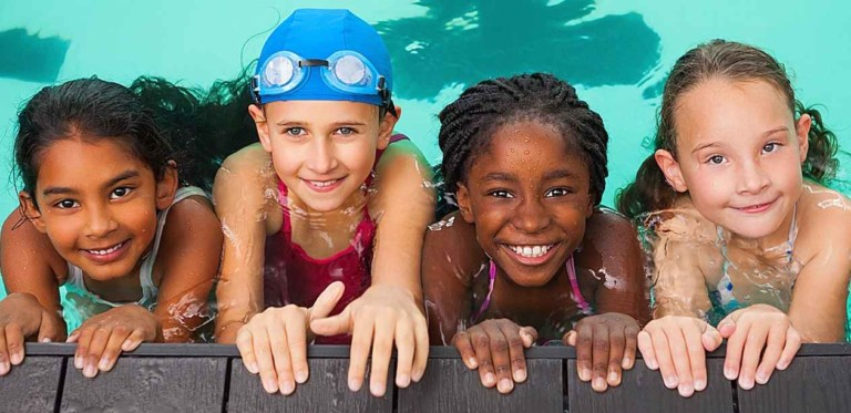 kids in pool - polin waterparks supports wlsl world's largest swimming lesson