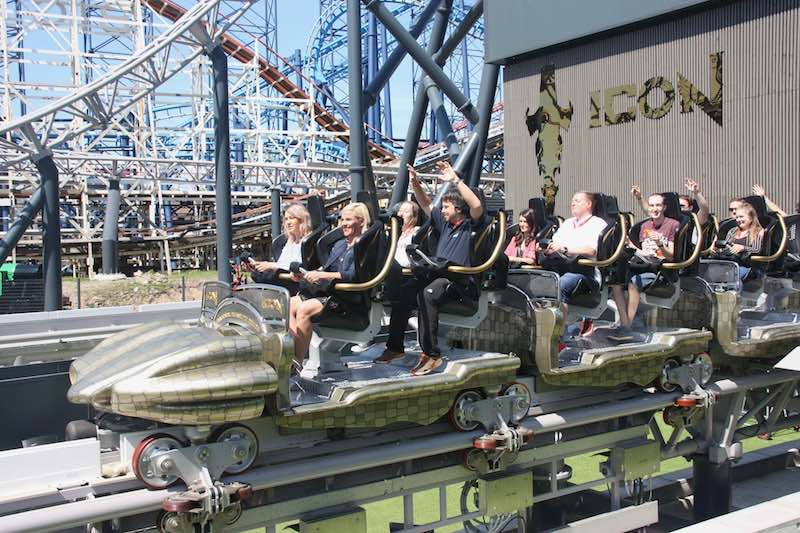 Guests onboard the Blackpool Pleasure Beach Icon Rollercoaster
