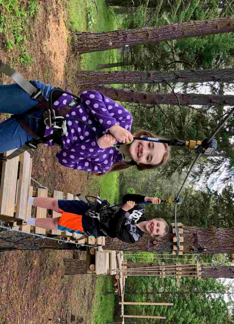 kids at farragut state park tree to tree idaho ropes course