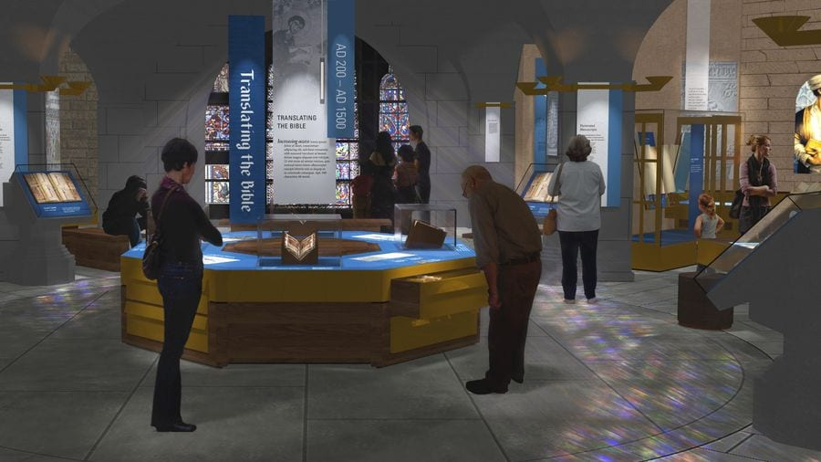 Visitors reading the information about the Translation exhibit at the Museum of the Bible