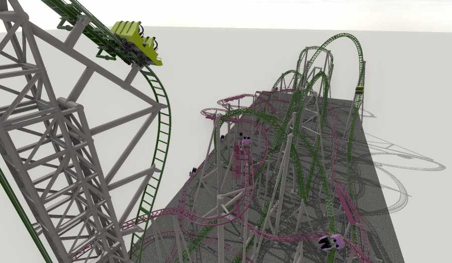 ride ent spinning coaster and euro-fighter drop