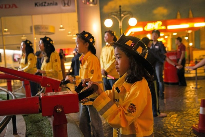 KidZania young fire fighters in action