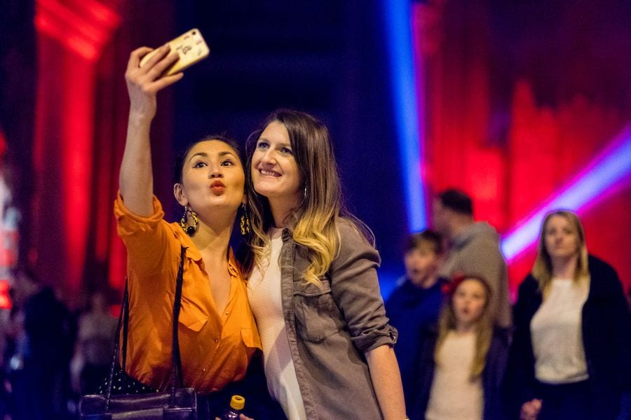 Two friends taking a selfie at Liverpool Light Night