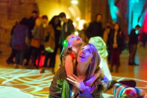 Mother and Daughter appreciating light exhibition at Liverpool Light Night