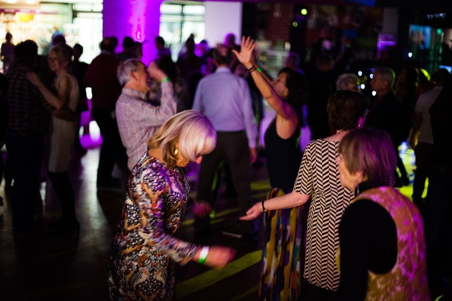 Guests dancing at National Archives' 60s Disco