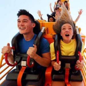 accesso, riders on a roller coaster