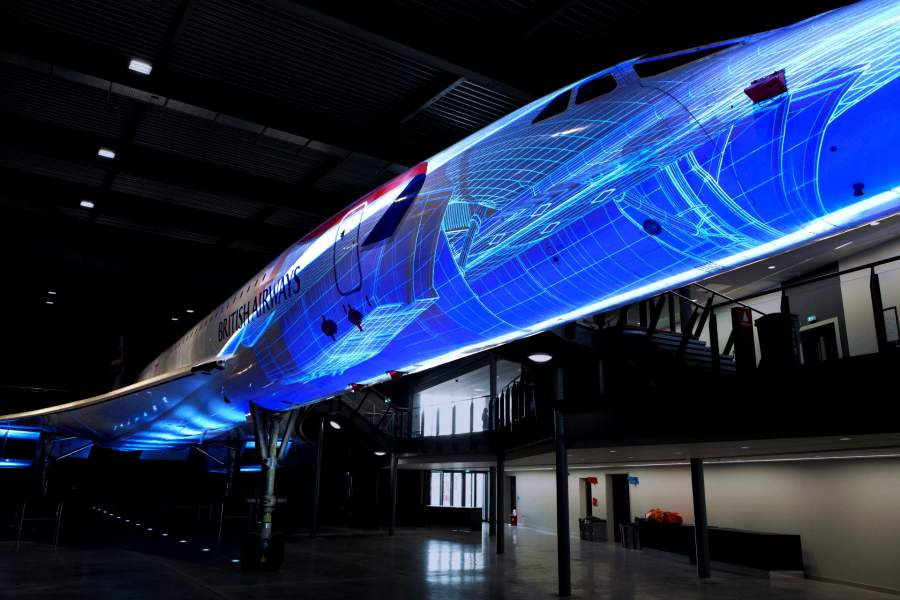 projection mapping on concorde alpha foxtrot exhiibit