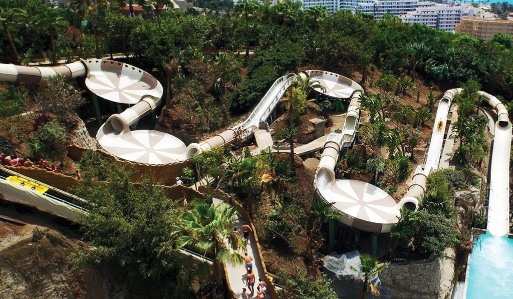 Arial view of a beige hybrid water slide on a hill