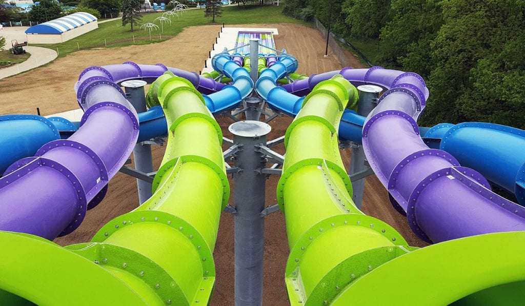 Landscape image of a 6 lane Kraken Racer's tubes intersecting with each other