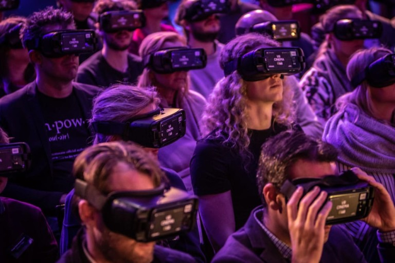 VR Headsets on Guests at the AUREA Awards MackMedia
