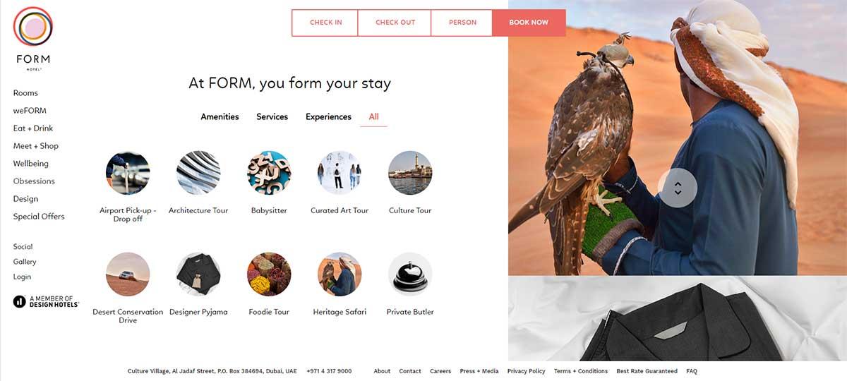 Form Hotel Dubai - customise experiences