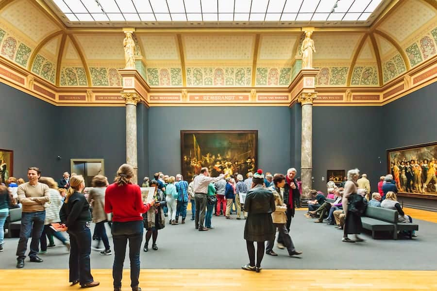 Rijksmuseum hall with the Night Watch oil pain. Gallery, interior.