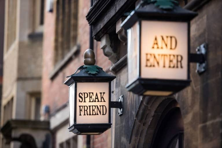 Speak Friend and Enter Lights at The Story Museum's entrance