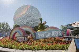 Main signage for Epcot's 2019 Festival of The Arts, Epcot's World Showcase
