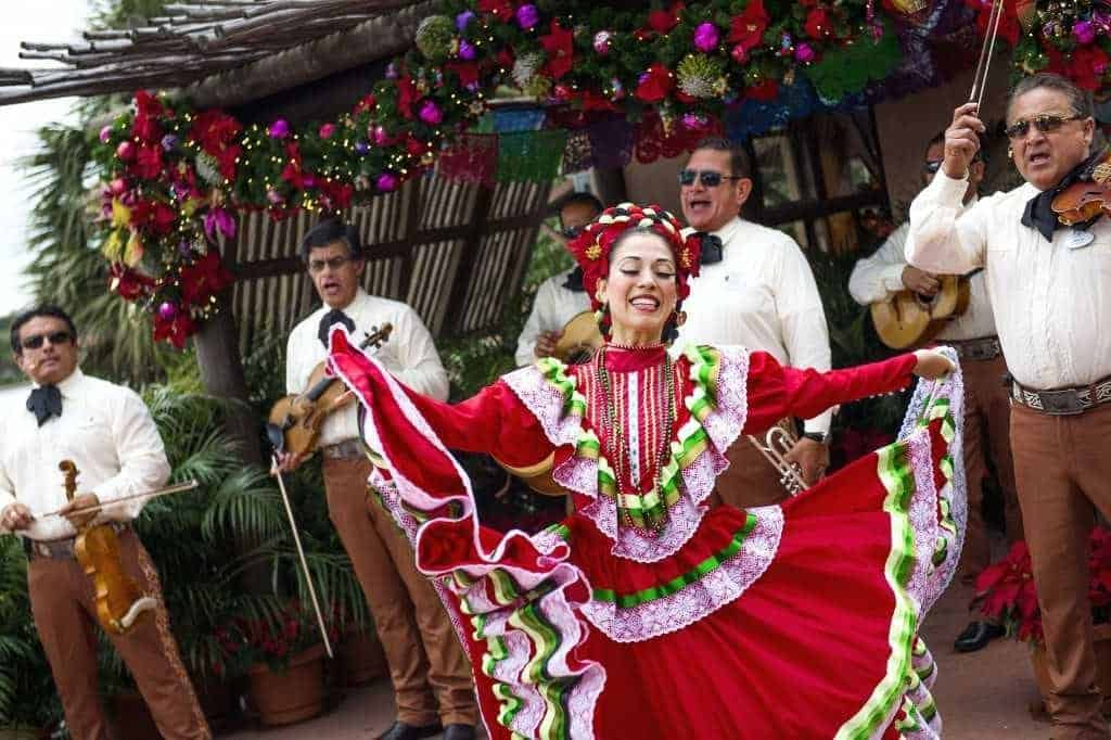 Epcot International Festival of the Holidays Dancer with Mariachi band