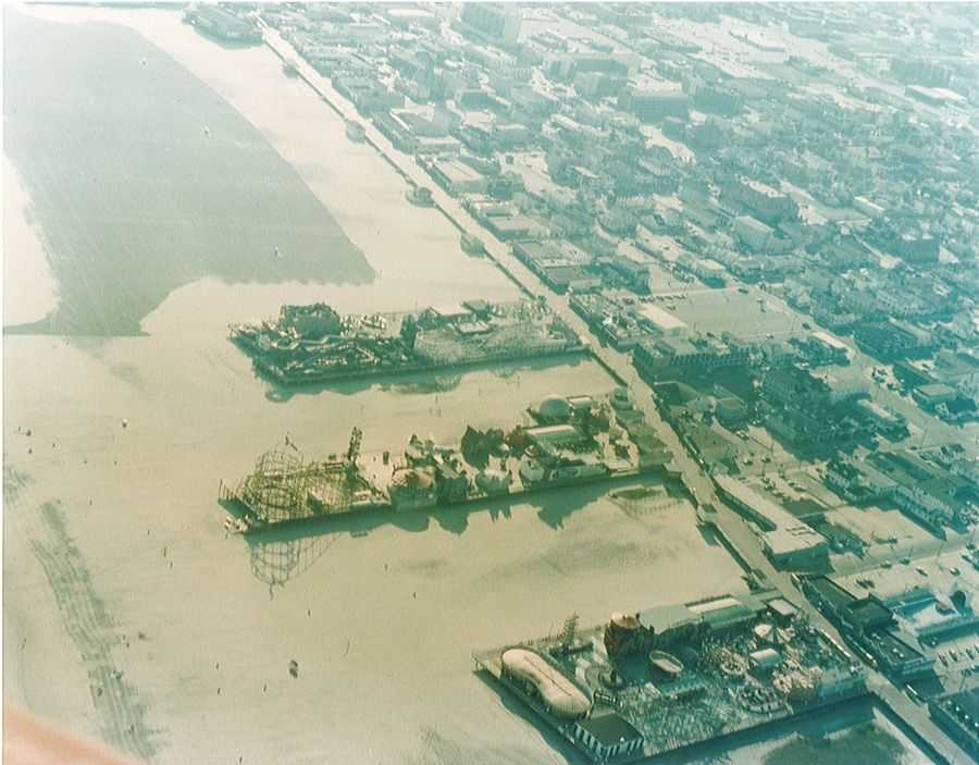 Historial Aerial view of Morey's Piers, seaside amusement park