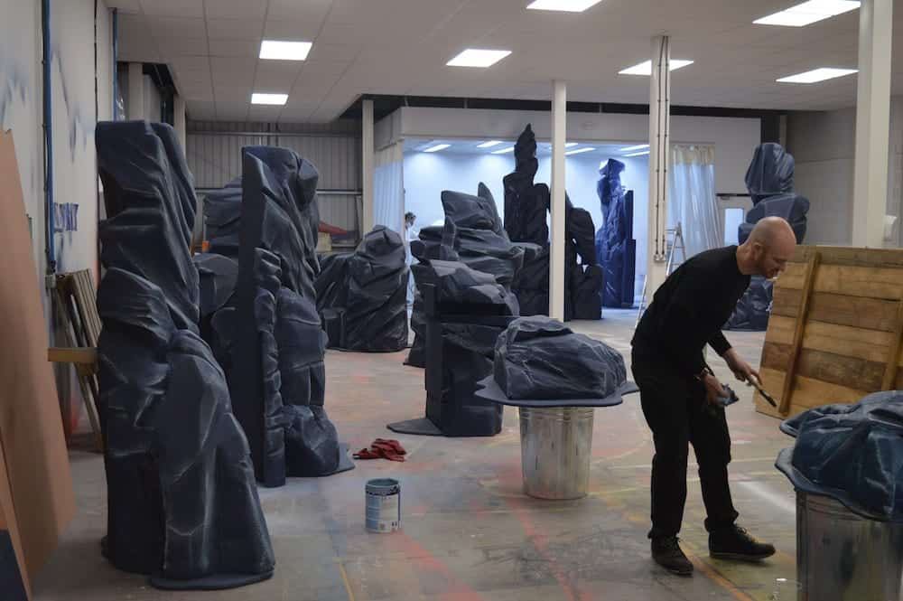 Scruffy-Dog-production-facility-Midlands-man-with-sculptures