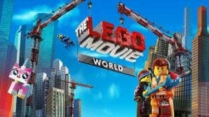 The Lego Movie World poster with Emmet, Wyldstyle and Unikitty