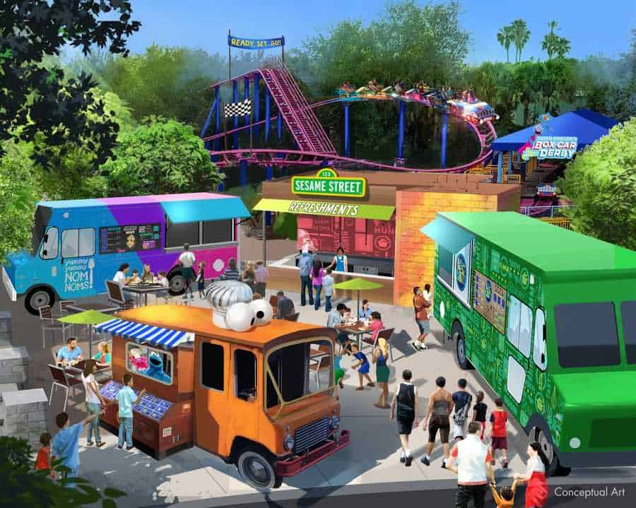 Food Trucks area concept at Sesame Street Land at SeaWorld Orlando