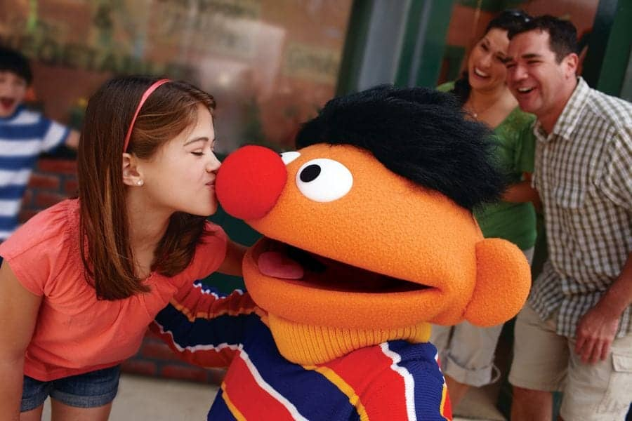 Little girl kissing Ernie on his nose at SeaWorld Orlando