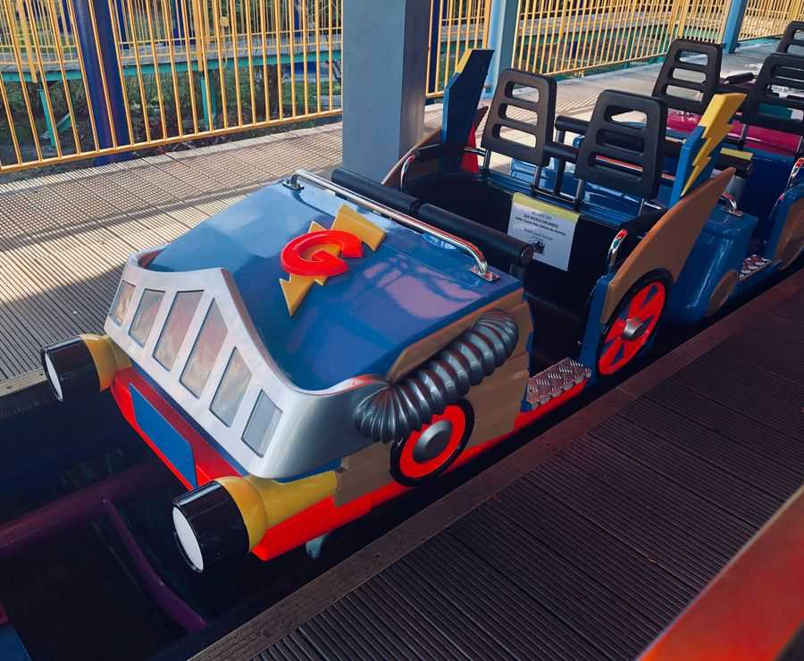 Ride vehicle of Super Grover's Box Car Derby at Sesame Street Land at SeaWorld Orlando