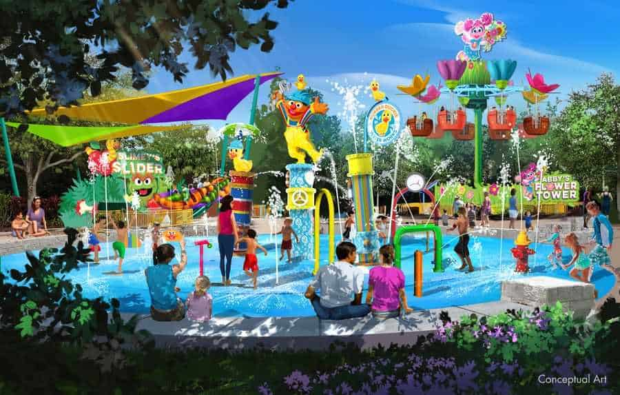 Rubber Ducky Water Works Wet Play Area concept at Sesame Street Land at SeaWorld Orlando