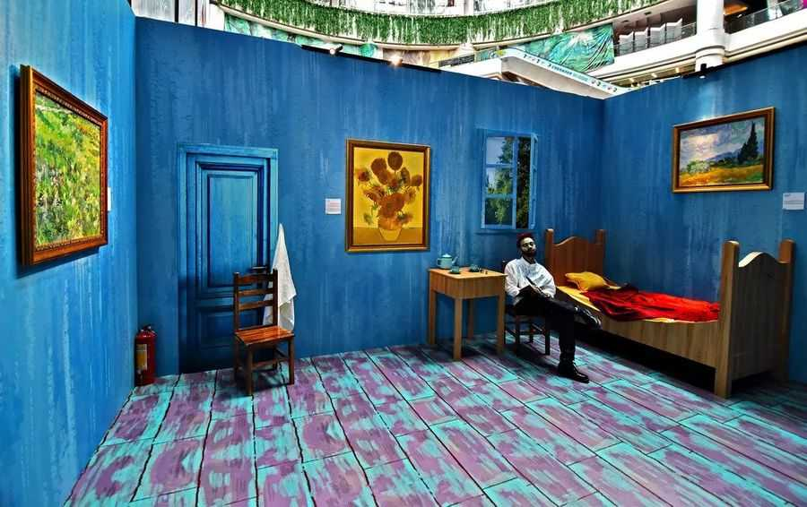 The National Gallery pop up experience in Guangzhou with a replica of Vincent Van Gogh's bedroom
