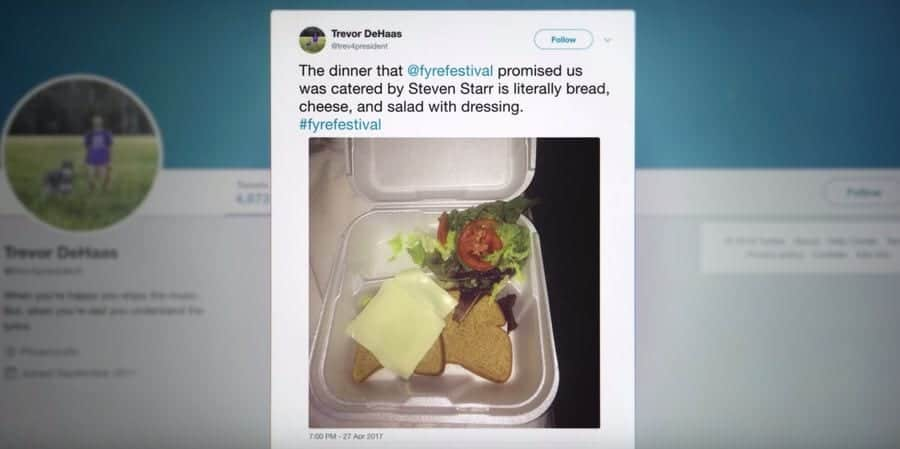 Twitter post featuring the food at Fyre Festival from the Netflix Documentary Fyre