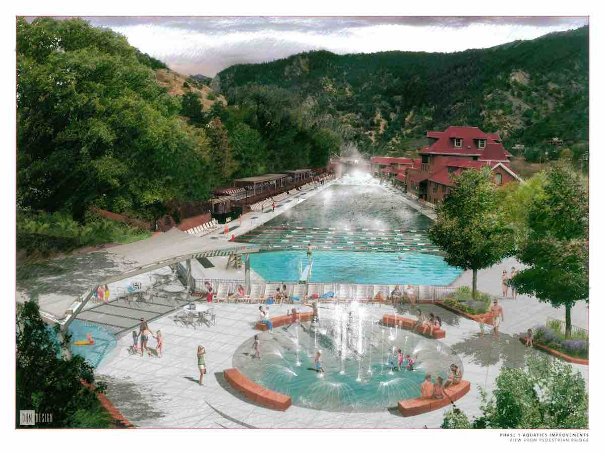 Pedestrian bridge view of new aquatic area at Glenwood Hot Springs resort Rendering by DHM Design