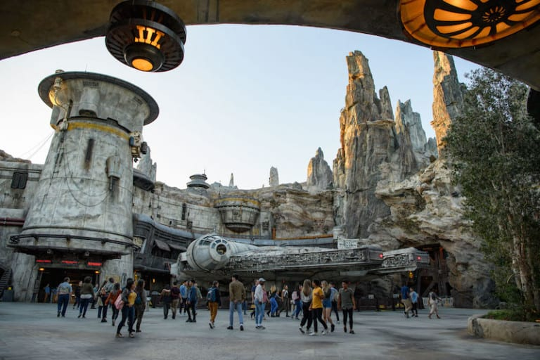 Star Wars: Galaxy's Edge at Disneyland Park in Anaheim, California, and at Disney's Hollywood Studios in Lake Buena Vista, Florida, is Disney's largest single-themed land expansion ever at 14-acres each, transporting guests to Black Spire Outpost, a village on the planet of Batuu. Guests will discover two signature attractions. Millennium Falcon: Smugglers Run (pictured), available opening day, and Star Wars: Rise of the Resistance, opening later this year. (Todd Wawrychuk/Disney Parks)