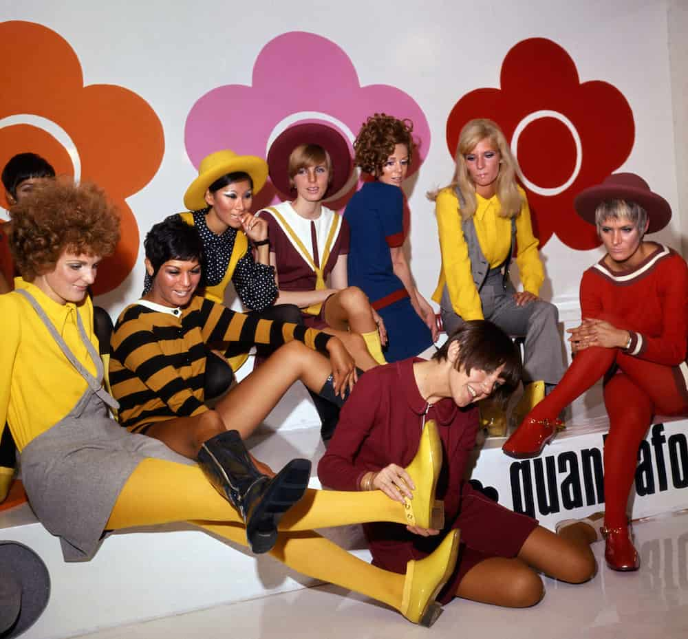 Mary Quant with models showing her new shoe creations, 1967, blooloop