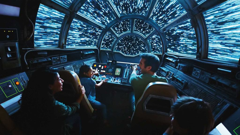 Guests on the Millennium Falcom at Star Wars: Galaxy's Edge