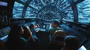 Guests on the Millennium Falcom at Star Wars: Galaxy's Edge deep story