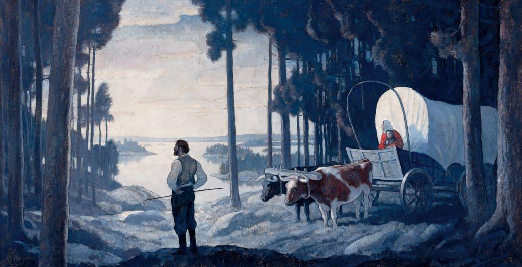 N.C. WYETH At A Bend In The Sauk River lucas museum ofnarrative art