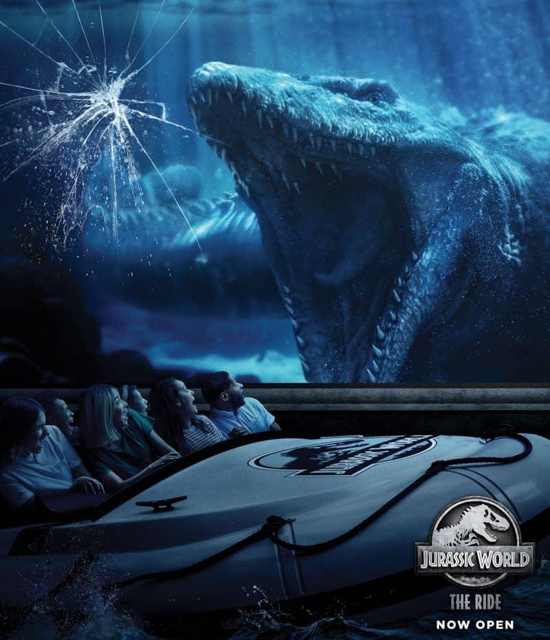 "Caption The magnificent aquatic Mosasaurus inside ""Jurassic World--The Ride's"" massive Aquarium Observatory Tank at Universal Studios Hollywood"