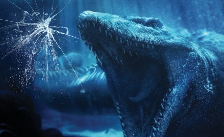 "The magnificent aquatic Mosasaurus inside ""Jurassic World--The Ride's"" massive Aquarium Observatory Tank at Universal Studios Hollywood"
