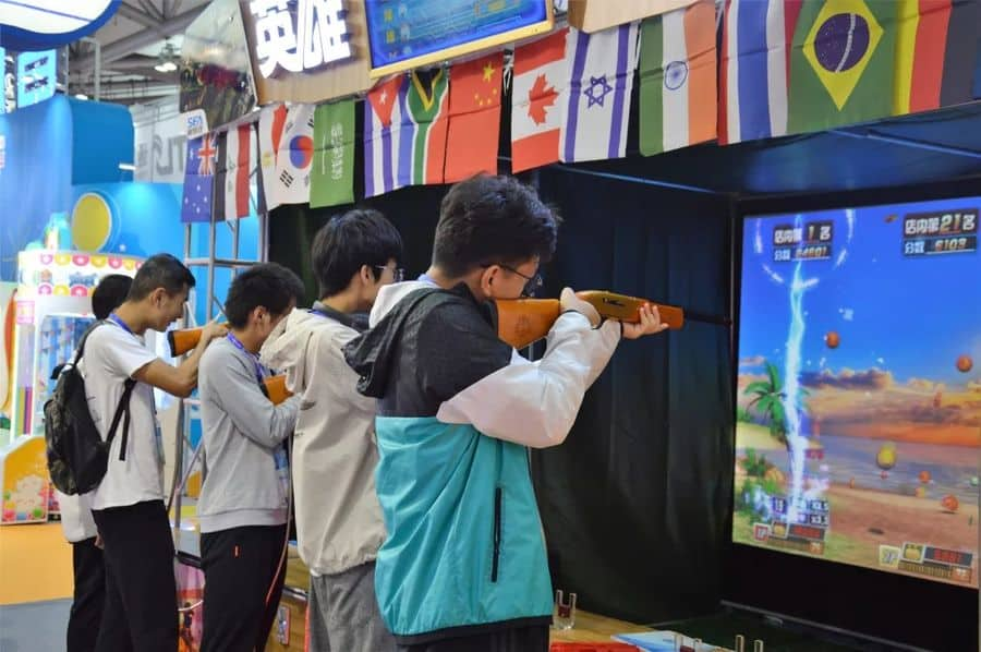 Games and Amusement Fair 2018 Attendees at rifle shooting game