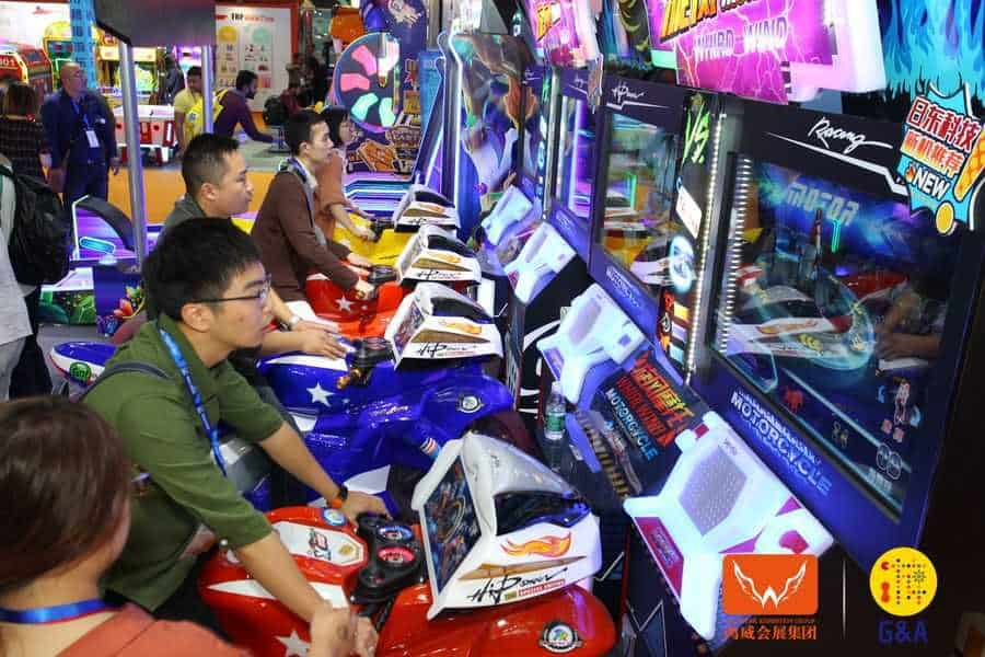 Games and Amusement Fair 2018 Attendees on motorbikes