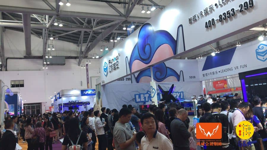 Games and Amusement Fair 2018 Attendees outside VR exhibitor