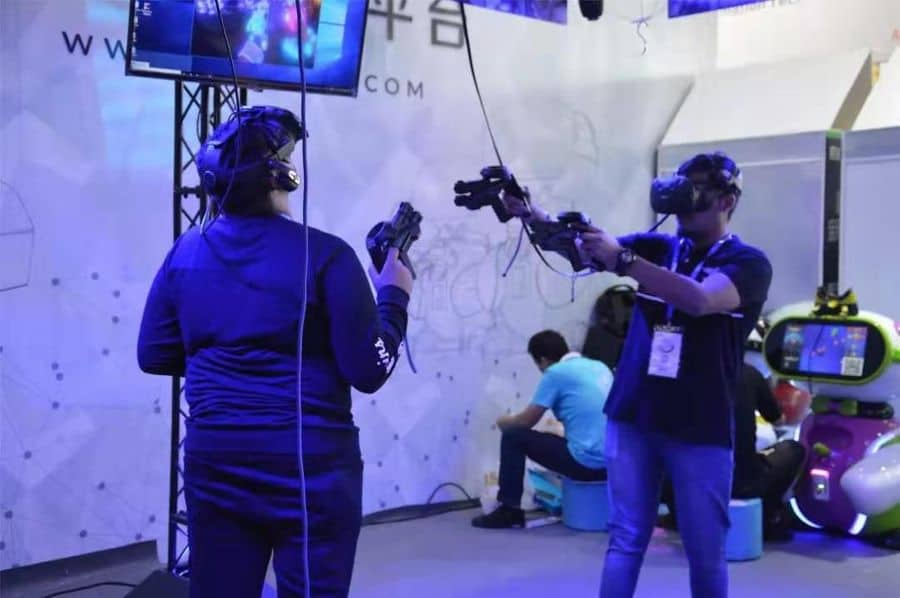 Games and Amusement Fair 2018 Attendees trying out VR