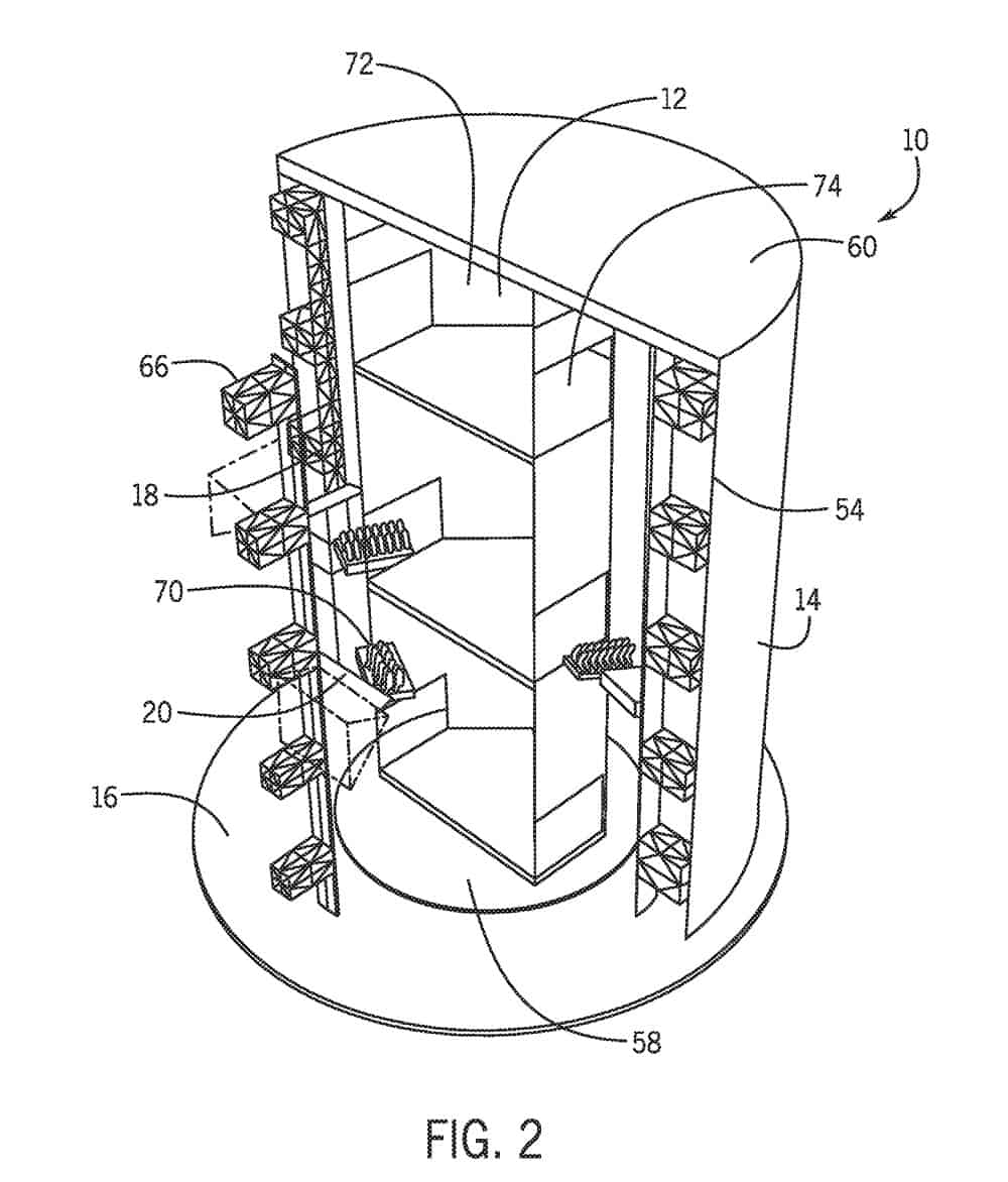 universal patent ride tower with rotating lift side