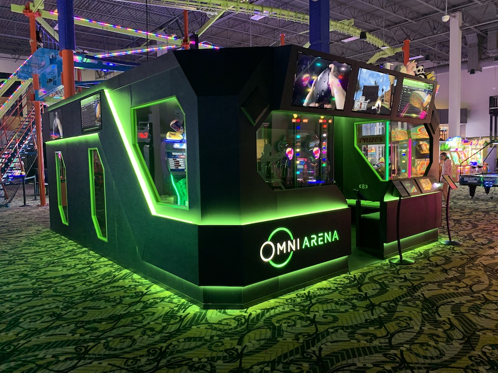 The Omni Arena by Virtuix was on display at Amusement Expo International 2020