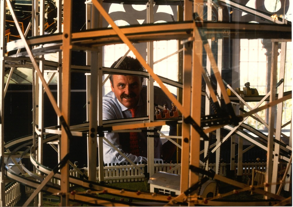 In the blood: Roland Mack with a model of a vintage Mack roller coaster