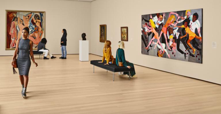 Guests at MoMA museum visitors return
