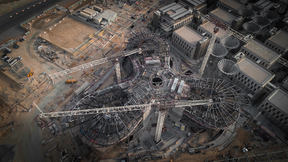 Mobility pavilion under construction at Expo 2020 Dubai which has now been postponed to 2021