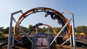 People riding new Skywarb Orbit rollercoaster
