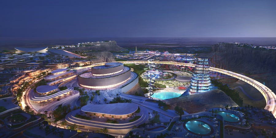 design for the Cliff Edge Plaza and Performing Arts Centre at Qiddiya