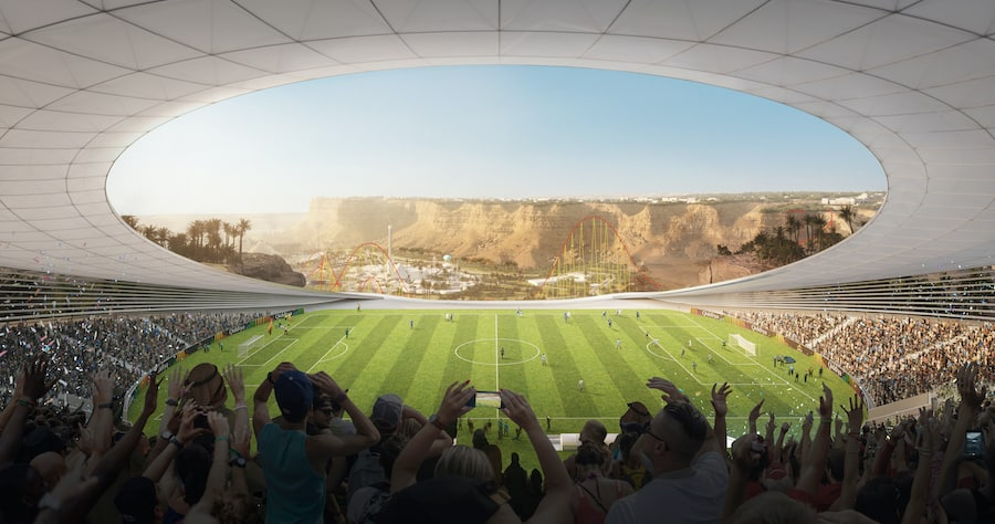 Qiddiya artist impression - Cliff Edge Stadium with Six Flags Qiddiya in background