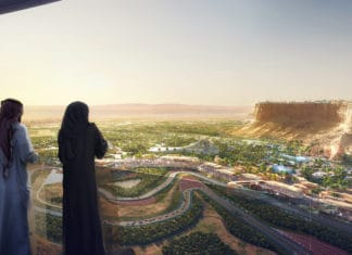 View of Resort Core and Speed Park at Qiddiya from clifftop